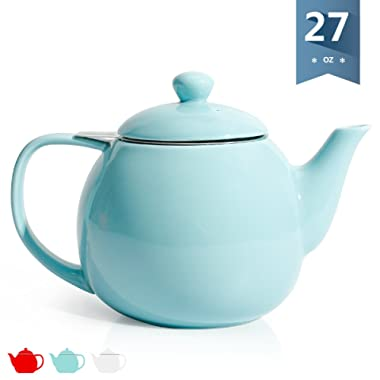 Sweese 2308 Teapot, Porcelain Tea Pot with Stainless Steel Infuser, Blooming & Loose Leaf Teapot - 27ounce, Turquoise