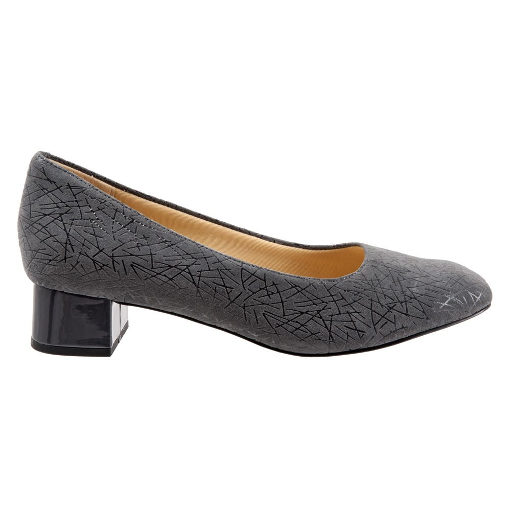 Trotters Women's Lola Dress Pump B019QT4V1Y 9.5 XW US|Dark Grey Graphic Embossed Leather