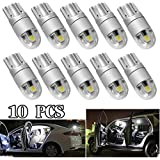 T10 LED Light Bulb W5W 194 Super Bright 3030 2SMD for Car Interior Exterior Lights(T10 10PS-White)