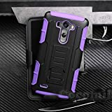 LG G3 Case, Cocomii Robot Armor NEW [Heavy Duty] Premium Belt Clip Holster Kickstand Shockproof Hard Bumper Shell [Military Defender] Full Body Dual Layer Rugged Cover (Purple)