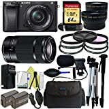 Sony Alpha a6300 Mirrorless Digital Camera with 16-50mm Lens + Sony E-Mount 55-210mm F 4.5-6.3 Lens + Pixi-Pro Accessory Bundle - International Version