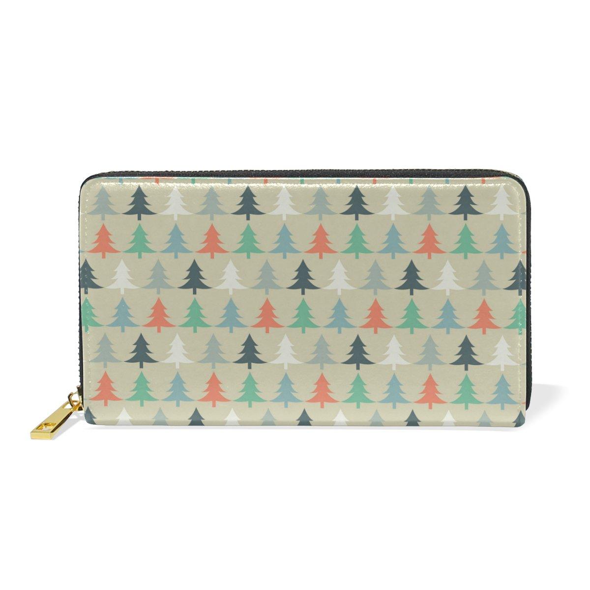 Women Genuine Leather Wallet Pine Tree Zipper Purse Girl Phone Clutch
