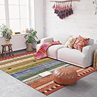 USTIDE Modern Bohemian Multicolored Distressed Area Rug Floor Runner for Living Bedroom bedside Washable 2 6 x5 2 (80x160cm)