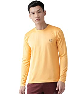 CHKOKKO Men's Polyester Full Sleeve Active Wear Round Neck Regular Dry Fit Stretchable Yoga Gym Sports T-Shirt (Mustard; X-Large)