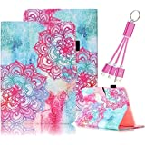 Galaxy Tab S2 8.0 Case,Vandot PU Leather Auto Wake/Sleep Magnetic Stand Wallet Case [Card Slots] Flip Folio Cover Colorful Painting Pattern for Samsung Galaxy Tab S2 8.0 inch SM-T710 T715+USB Cable-Totem Tribal Flower