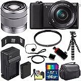 Sony Alpha a5100 Mirrorless Digital Camera with 16-50mm Lens (Black) + Sony SEL 1855 18-55mm Zoom Lens + 64GB Bundle 12 - International Version (No Warranty)