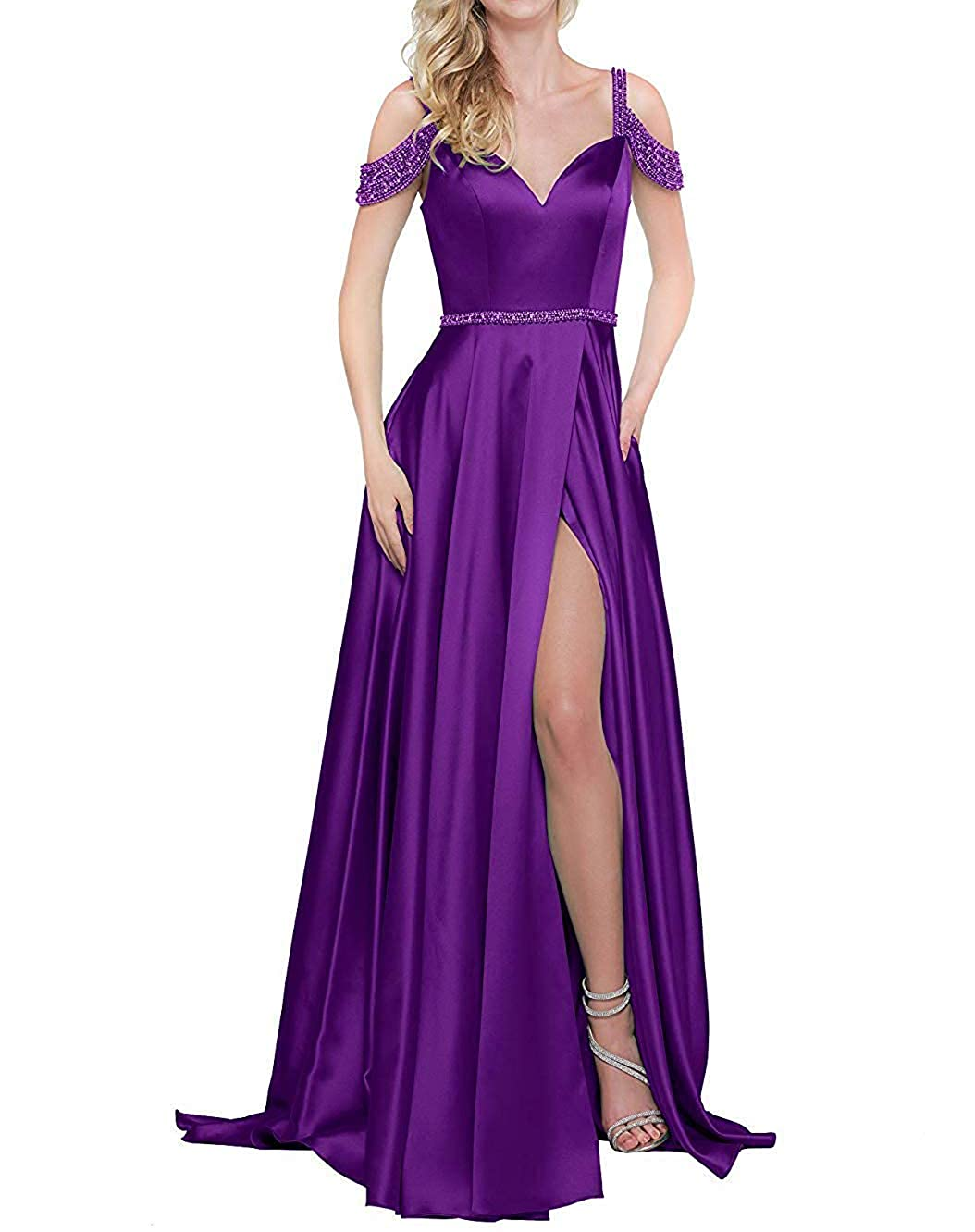 Purple ZLQQ Women's Off The Shoulder Satin Side Slit Prom Dress with Pockets Beaded A Line