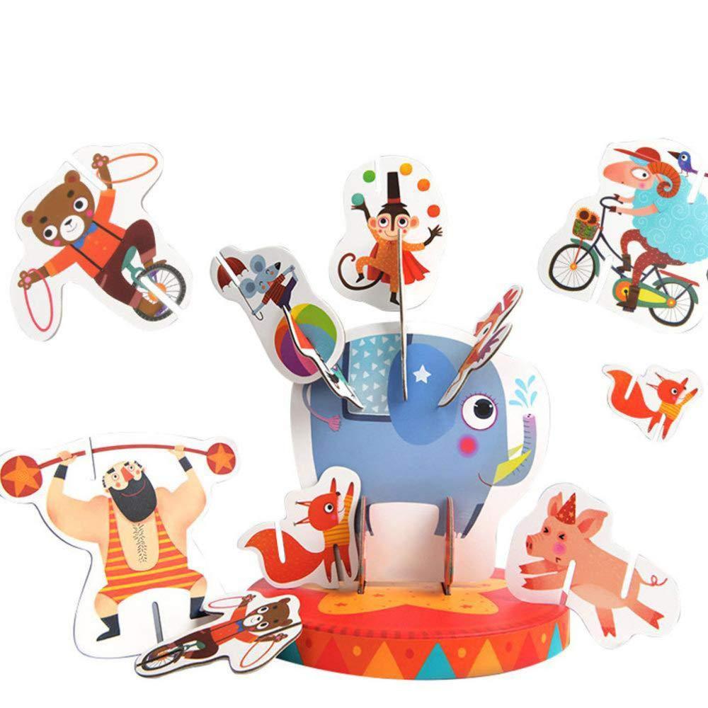 DYMAS Juguete Intelectual Los niños Equilibrio Circo apilamiento Tridimensional Animal Puzzle