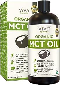 Viva Naturals USDA Organic MCT Oil (32 fl oz) – Made with 100% Organic Non-GMO Coconuts, Keto Friendly and Paleo Diet Certified