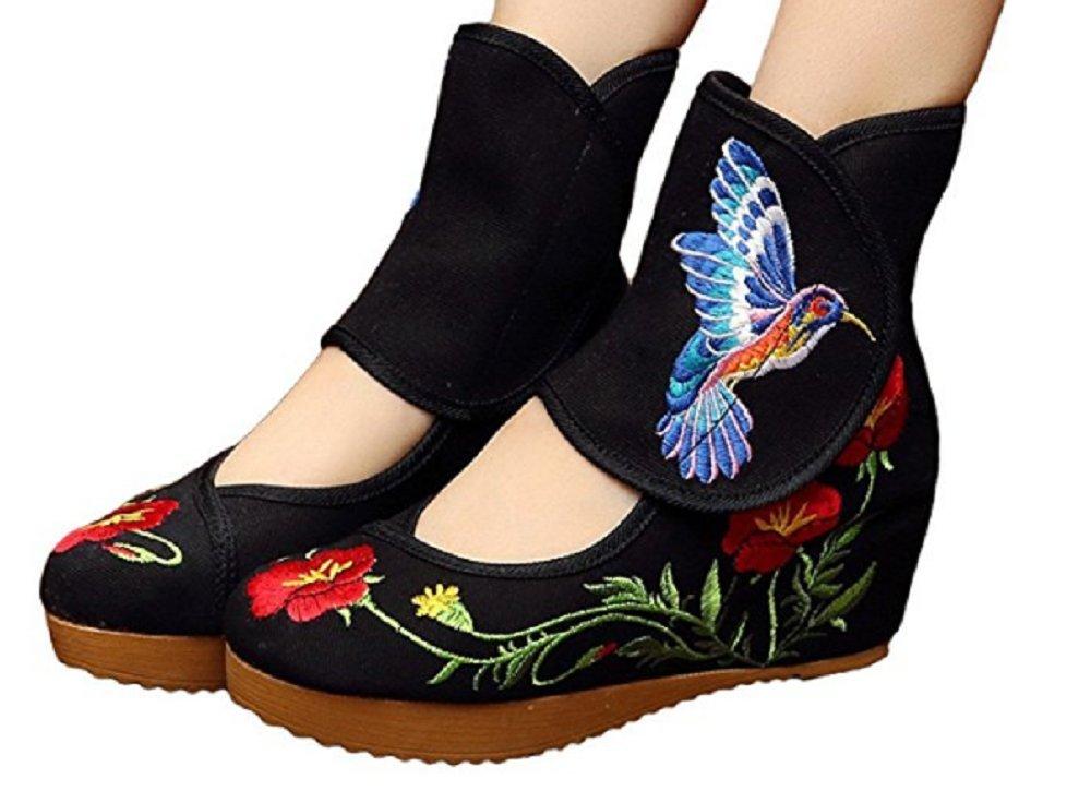 Tianrui Crown Ladies and Womens Hummingbird Embroidery Classy Platform Velcro Dancing Shoes B01N2O7MDJ 8 B(M) US Black
