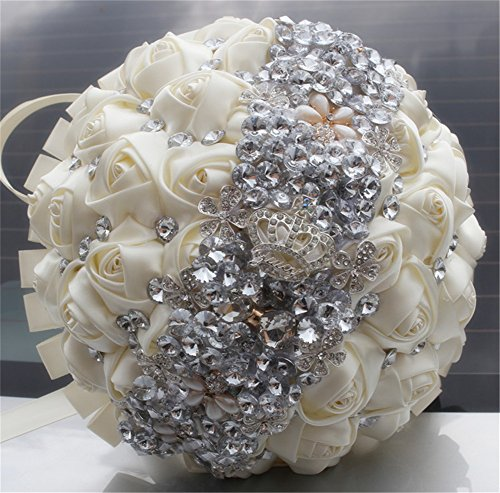KUKI SHOP Handmade Romantic Silk Roses Rhinestone Crystal Brooch Pearl Wedding Bouquet Bridal Holding Bouquet Bridesmaid Bouqeut Wedding Decoration Fl…