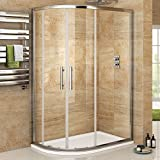 900 x 760mm Left Hand Offset Quadrant Easy Clean Shower Enclosure + Tray Set by iBathUK