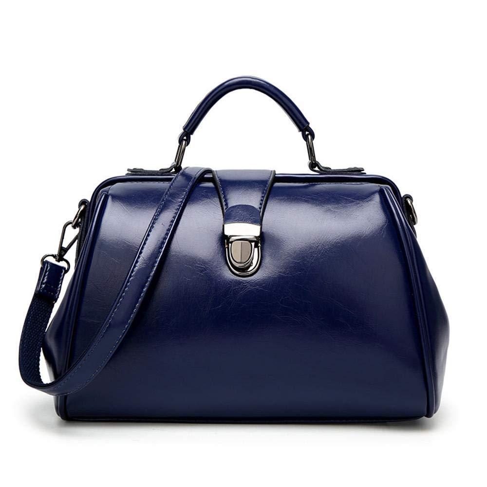 B Huasen Evening Bag Women's Leather Bag Fashion OilSkin Doctor Bag Simple Single Shoulder Diagonal Tote Bag 301719cm Party Handbag (color   D)