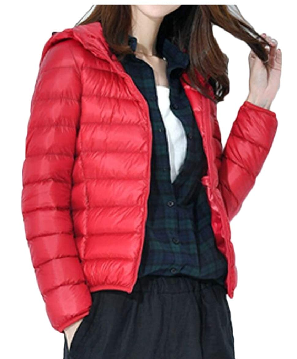 Red LEISHOP Women Lightweight Packable Down Jacket Hooded Insulated Coat