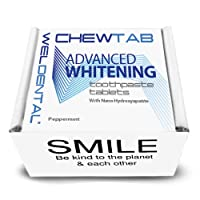 Chewtab Advanced Whitening Toothpaste Tablets with Nano-Hydroxyapatite, Peppermint Refill 180 Count