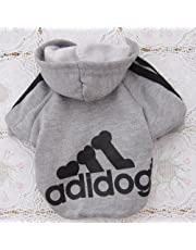 Angel Mall Adidog Hoodie Pet Clothes Dog Sweater Puppy Sweatshirt Warm Small Coat Christmas Gift 1-pc Set (Grey) (M)