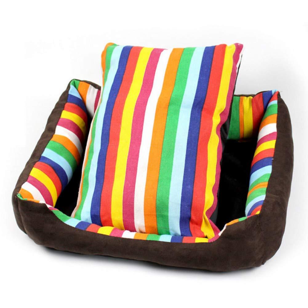 whiteo 100x75cm Fashion Rainbow color Stripe Comfortable Cat Puppy Dog Bed Canvas Sofa Cushion Carpet Large Size Pet Dog Bed