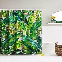 Palm Leaf Shower Curtain, IMEI Tropical Green Palm Tree Waterproof Bathroom Polyester Fabric Mildew Resistant Decorative Bath Curtain (72*72 Inch)
