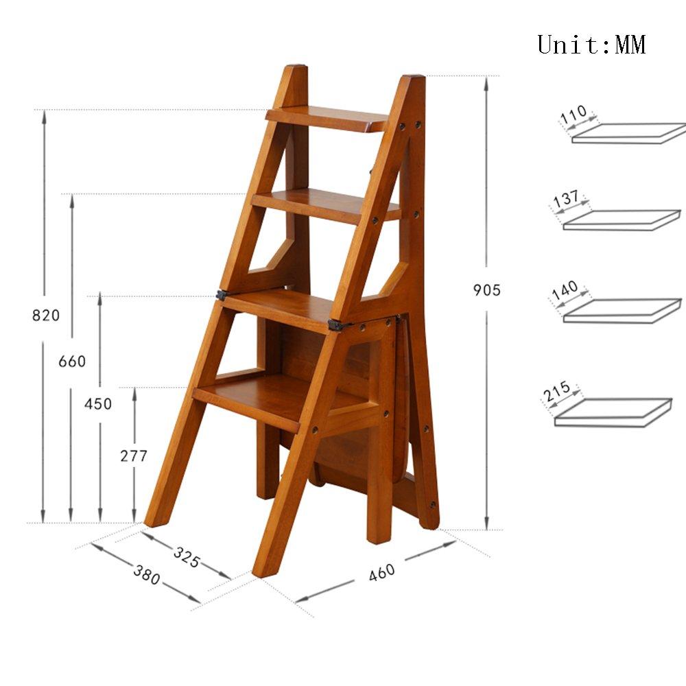 JTWJ Passo Sedia casa Pieghevole in Legno Sedia Scala Multifunzione Passo Sgabello Dual-Use Sgabello Adulto scaletta (colore   D)