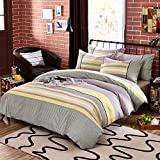Years Purple 100% Cotton Luxury Bedding Set Stripes Plaids Bedding Duvet Cover Pillowcases Fitted Sheet, King Size