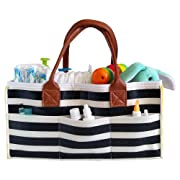Baby Diaper Caddy Organizer: Nursery Essential Storage Basket for Accessories for The Newborn Baby- Additional Includes a Bib with Pacifier-boy & Girl/White-Black Stripes