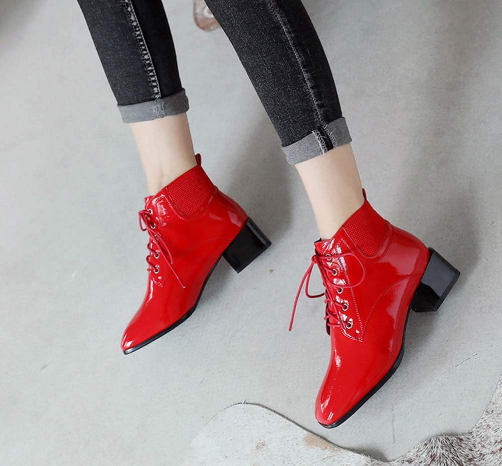 QINGMM Frauen Mode Martin Stiefel 2018 Stiefelies Herbst New College Style Student Lace Up Stiefelies 2018 fe6676