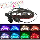 TASWK 4Pcs Car LED Neon Undercar Glow light Waterproof Underglow Atmosphere Decorative Bar Strip Lights Kit 8 Color with Sound Active and Wireless Remote Control