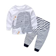 Napoo Baby Boys Elephant Print Tops+ Stripe Long Pants 1Set Clothes (1 Years, White)