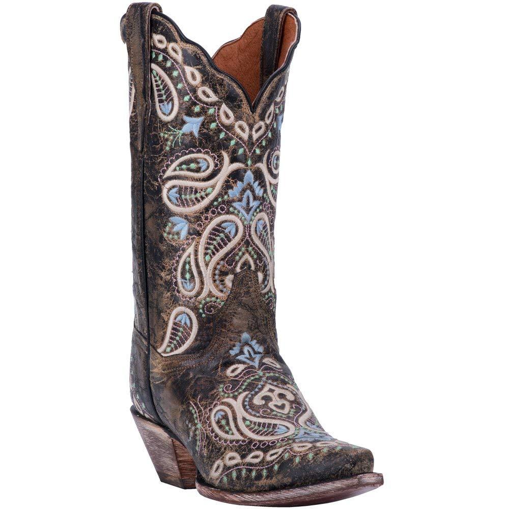 Chocolate Dan Post Women's Paisley Embroidered Western Boot Snip Toe Chocolate