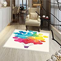 Watercolor Bath Mat for tub Hot Air Balloon Rainbow Colors Cute Heart Shapes Cheerful Happy Floor Mat Pattern 24x48 Sky Blue Yellow Pink Red