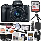 Canon EOS M50 Wi-Fi Digital ILC Camera & EF-M 15-45mm IS Lens Video Creator Kit with Rode Microphone + 32GB Card + Battery + LED Light + Backpack + Filters + Tripod Kit