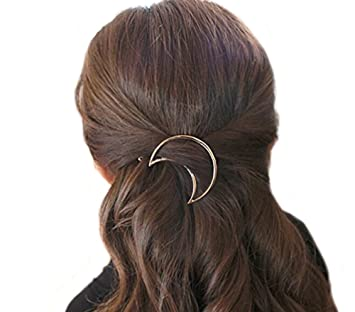 Amazon.com: 2 Pieces Hollow Crescent Geometric Metal Hair ...