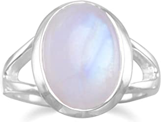 Rainbow Moonstone 15.5x12mm Cabochon Sterling Silver Ring, 3/4 inch wide, Sizes 5-11