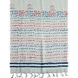 Womens Yoga Wrap Ivory Red Sanskrit Chants Stole Woven Shawl Handloom Cotton Stole