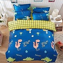 4pcs Bedding Set Duvet Cover Bed Sheet Pillowcase Animal Design Twin Full Queen Size (Twin, Dinosaur, Blue)