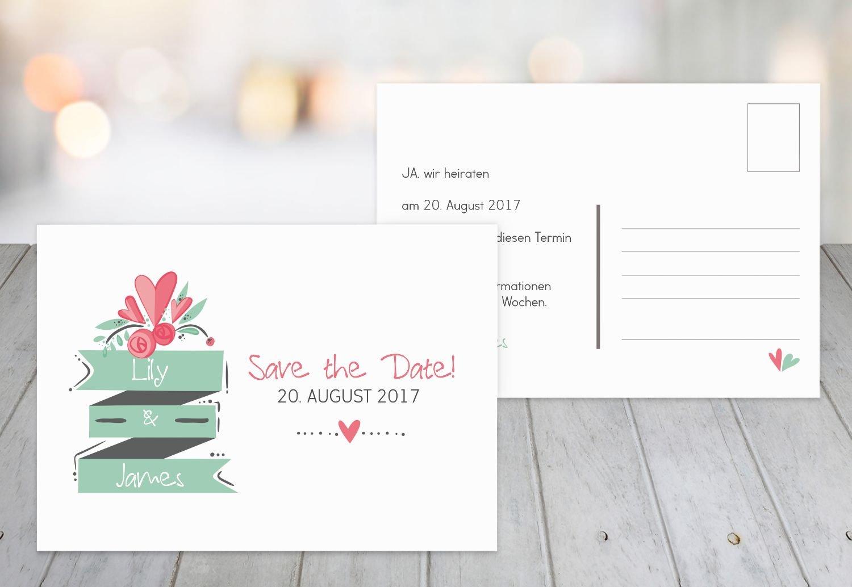 Save-the-Date Du & Ich, 30 Karten, hellgrünblau B07B6NGFQ1 | Neuheit  | Um Zuerst Unter ähnlichen Produkten Rang  | Bequeme Berührung