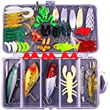 77Pcs Fishing Lures Kit Set for Bass,Trout,Salmon,Including Spoon Lures,Soft Plastic Worms, CrankBait,Jigs,Topwater Lures (with Free Tackle Box) by Sptlimes