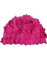 Moresave mujeres sombrero de natación de la mano artificial perla flor  pétalos de gorro de baño 3243e6dfd70