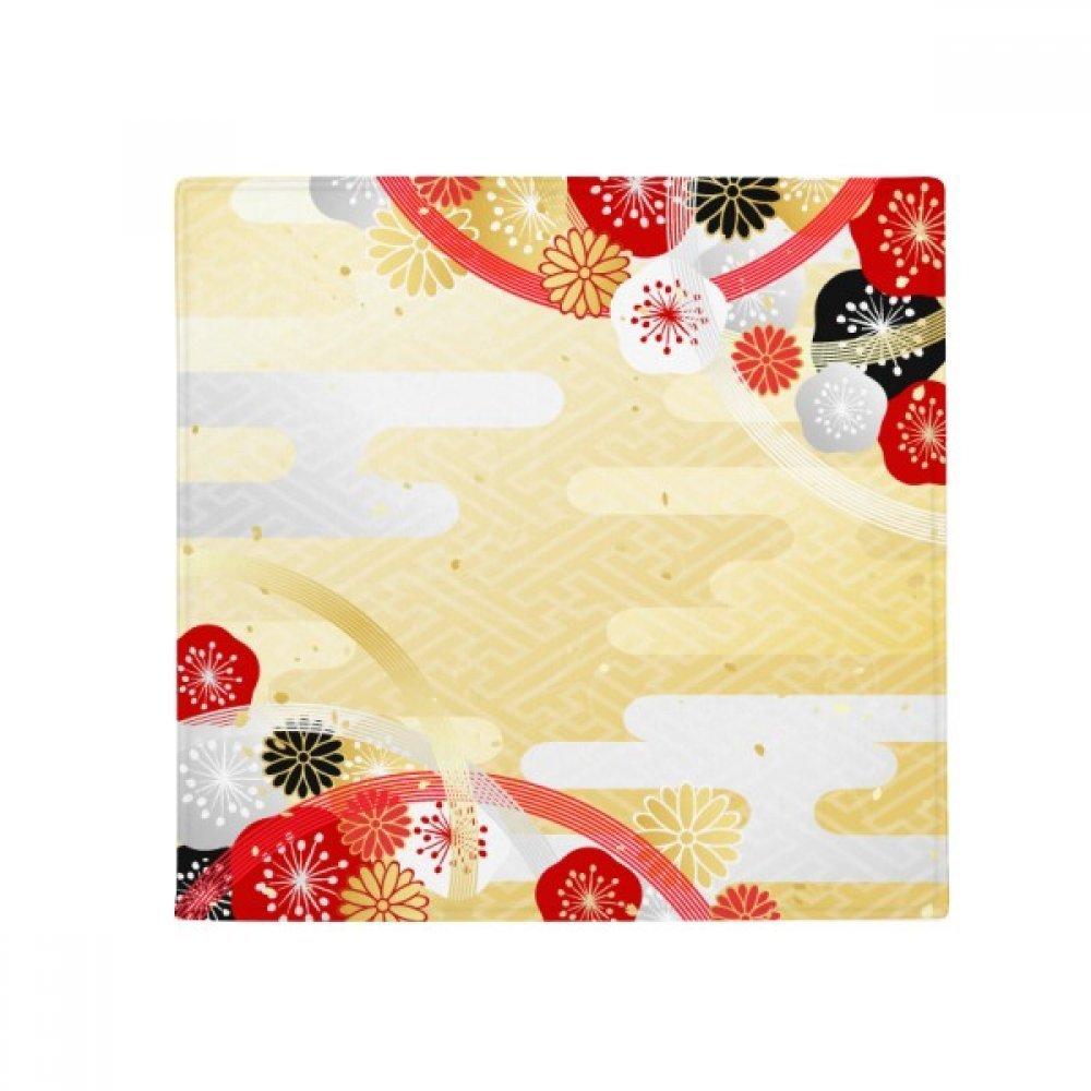 DIYthinker Sakura Geometry Flowers Pattern Japan Anti-Slip Floor Pet Mat Square Home Kitchen Door 80Cm Gift