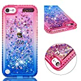 for ipod Touch 5/Touch 6 Case Glitter Liquid and Screen Protector,Gradient Colors Design Shiny Diamond Frame Clear Slim Fit Protective Phone Case,QFFUN Bling Sparkle Floating Quicksand Back Cover Shockproof Anti-Scratch Soft TPU Bumper - Pink and Blue
