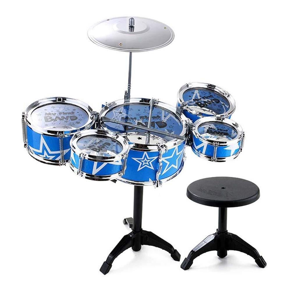 LINGLING-Tambor Batería de plástico Regalo de percusión de Tambor para niños niña aprendiendo a batir con Taburete Azul (Color : Azul, Tamaño : 5 Drums)