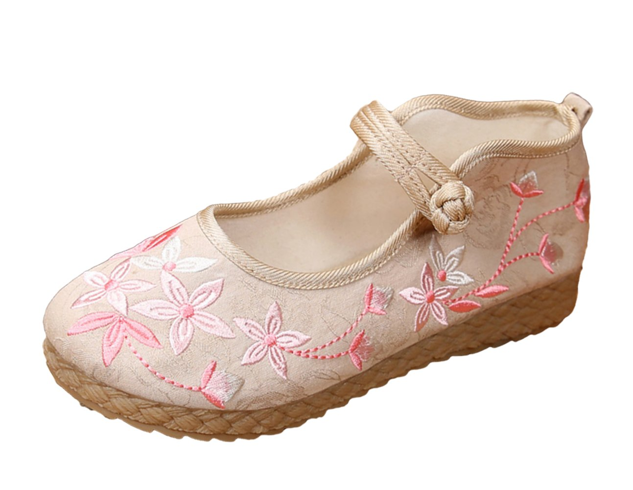 AvaCostume Womens Gardenia Embroidery Chinese Traditional Casual Shoes B075JBKRRZ 36 M EU Beige
