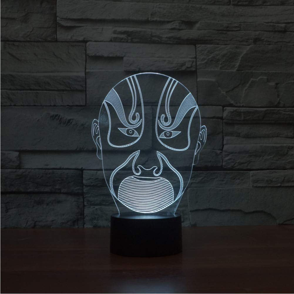 Shuyinju Shuyinju Shuyinju Decoración Del Hogar Luminaria 3D Led Dormitorio De Luz Nocturna Ópera China Máscaras Ópera Lámpara De Maquillaje Facial Usb Para Niños Regalos Lámpara De Mesa De Escritorio f978a1