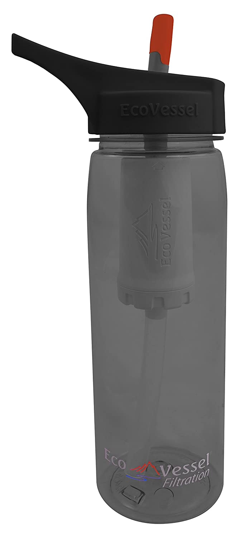 Eco Vessel Ultra Lite Portable Wasser Filtration Flasche mit uns Made 100 gal Wasser Filter und Sport Flip Auslauf Top und Silikon Stroh