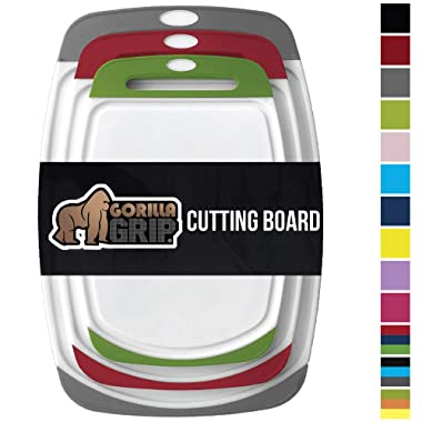 Gorilla Grip Original Oversized Cutting Board, 3 Piece, BPA Free, Dishwasher Safe, Juice Grooves, Larger Thicker Boards, Easy Grip Handle, Non Porous, Extra Large, Set of 3, Gray, Red, Green