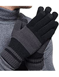 Winter Touchscreen Knit Gloves Mens Warm Wool Lining Texting for Smartphones