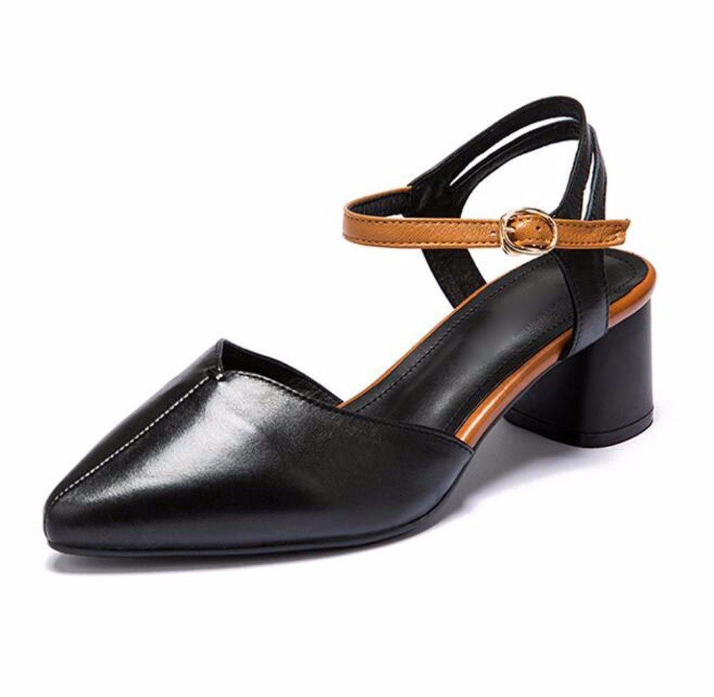 GTVERNH Baotou Middle Y Sandalias En Primavera Y Verano Color Grueso Hueco Solo Zapatos Puntiagudos Zapatos De Mujer.Treinta Y Siete Black Thirty-seven|black