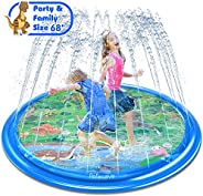 "PEFECEVE Splash Pad for Kids, 68"" Outdoor Summer Splash Mat for Toddlers, Babies, and 1-12 Years Old Boys &"