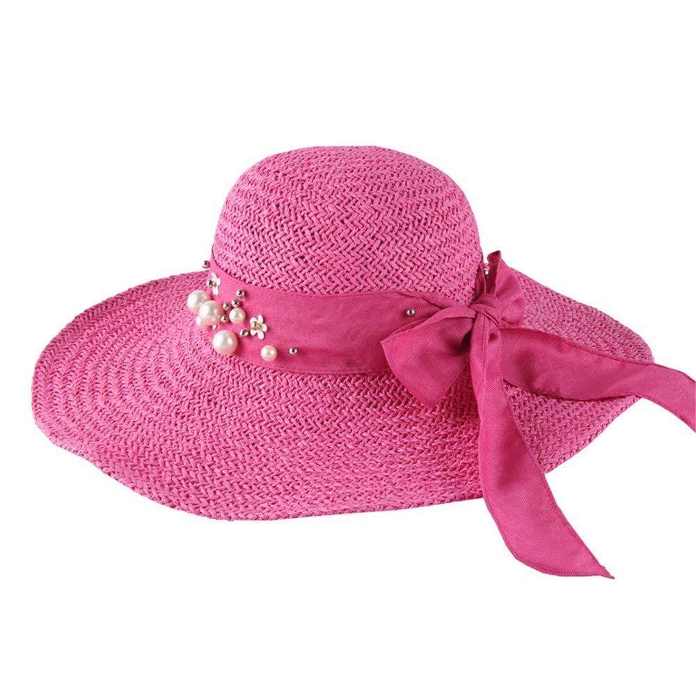 Beach Hat Ladies' Folding Beach hat Wide Edge Flat hat Straw hat Summer UV Sun Predection Tour and Leisure Sun hat. Summer Sun Hat (color   C)