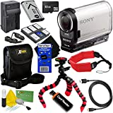 Sony HDR-AS200V Full HD Action Cam with Wi-Fi, GPS & Ultra-Wide 170° Lens + NP-BX1 Battery & AC/DC Charger + 9pc 32GB Accessory Kit w/HeroFiber Cleaning Cloth